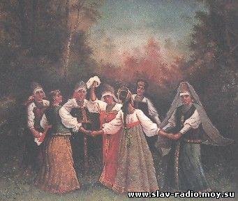 Девушки водят хоровод - роспись шкатулки, худ. А.Кругликов